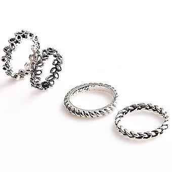 4 stuks vintage patroon vinger ring
