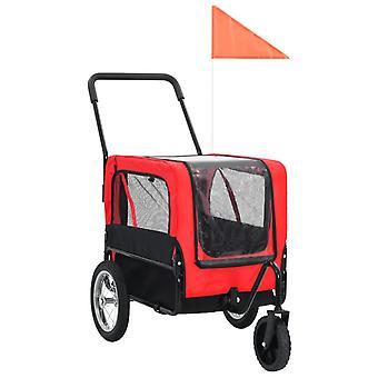 2-in-1 lemmikkikärry pyörään/juoksurattaat punainen ja musta