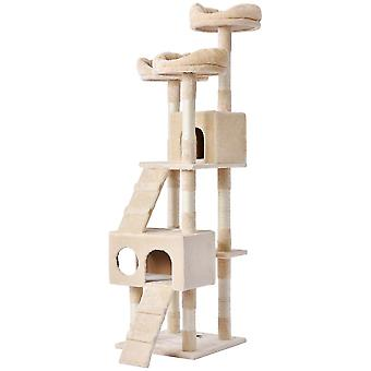 Large Cat Kitten  Play Tower House With Ladders In Beige