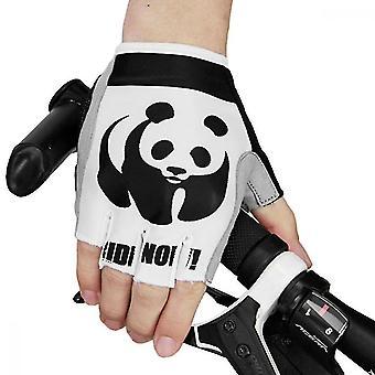 Safety gloves homemiyn men and women outdoor sports cycling half-finger non-slip gloves panda pattern xl white