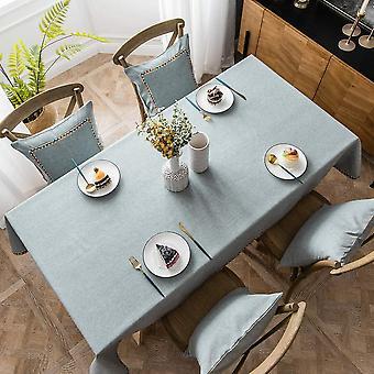 Baumwolle Leinen Rechteckige Tischdecke, Reine Farbe Einfache Moderne wasserdichte Tischdecke, Home Kitchen Tischdecke (grau, 140 * 140cm)