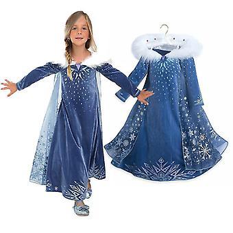 Frozen Queen Elsa Cosplay Costume Kids Girl Party Princess Fancy Dress