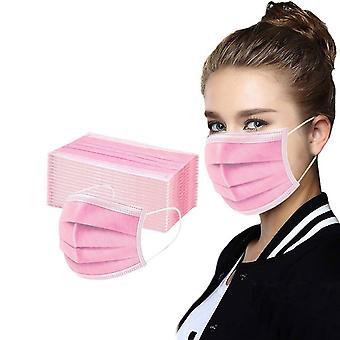50/100/200/300/400/500pcs Chirurgische Maske Dreischichtige Einwegmaske Rosa