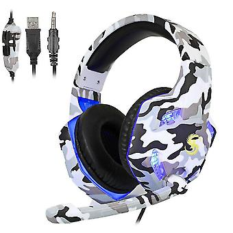 Venalisa 3.5mm Camouflage Gaming Headset avec micro, casque led pour pc portable Ps4,