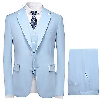 סט חליפות בגזרה דקה לגברים מייל 3 חלקים, שני מכנסי אפוד ז'קט מוצקים שני כפתורים
