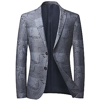Mile Men's Color Matching Single Row Two Buttons No Slit Casual Suit Blue Gray
