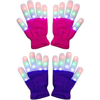 2 Pack Kids Light Gloves Children Finger Light Flashing Led Warm Gloves With Lights For Birthday Light Party Christmas Xmas Dance Thanksgivi