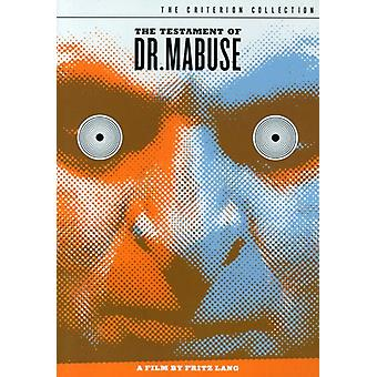 Testament of Dr Mabuse [DVD] USA import