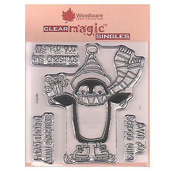 Woodware Clear Stamps Penguin Gift 4 Set