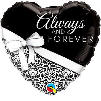 Qualatex 18 Inch Heart-Shaped Always & Forever Foil Anniversary Balloon