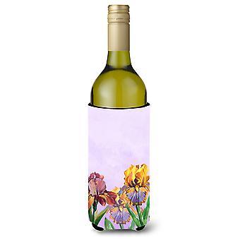 Lila und gelb Iris Weinflasche Beverge Isolator Hugger