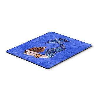 Brunette Mermaid on Blue Mouse Pad, Hot Pad or Trivet