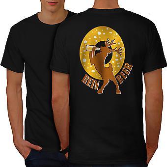 Deer Beer Funy Men BlackT-shirt Back | Wellcoda