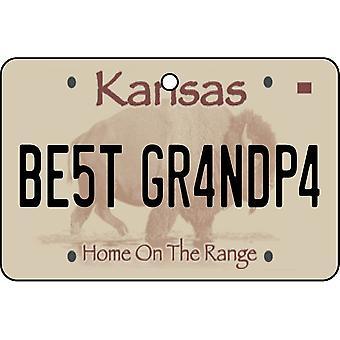 Kansas - Best Grandpa License Plate Car Air Freshener