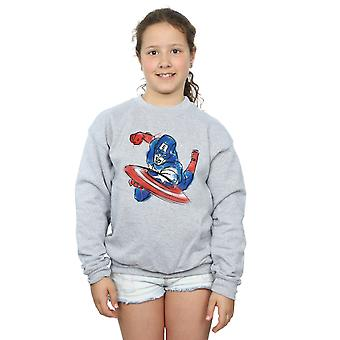 Marvel Girls Avengers Captain America Spray Sweatshirt