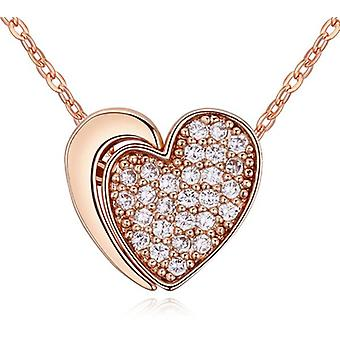 Womens Girls Rose Gold Unique Two Part Heart Pendant Necklace Crystal Elements