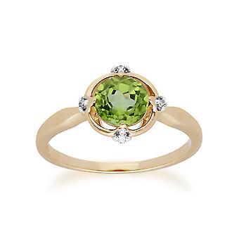 Gemondo 9 kt gul guld Halo Peridot & Diamond runde Cut Ring