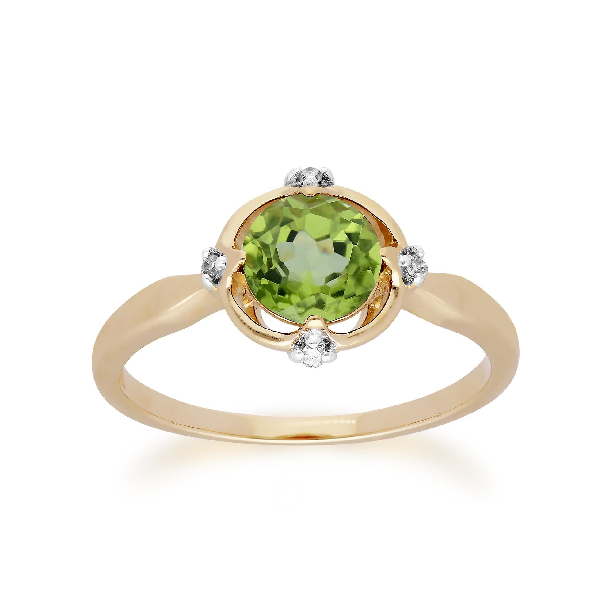 Gemondo 9ct Yellow Gold Halo Peridot & Diamond Round Cut Ring
