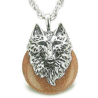 Amulett Wolf Kopf Mut Schutz Kräfte Glück Donut Gold Stein Anhänger Halskette