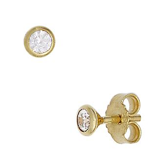 Studs boutons around 333 Gold Yellow Gold 2 cubic zirconia earrings gold