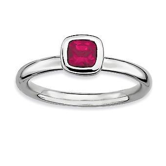925 Sterling Zilveren Bezel gepolijst Rhodium verguld stackable expressies kussen cut gemaakt Ruby Ring Sieraden Geschenken voor