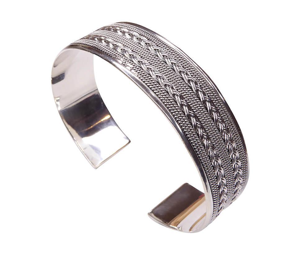 Zilveren klemarmband geweven en torsdraad