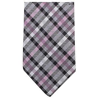 Tartan Knightsbridge cravates tissées Tie - rose/gris/noir