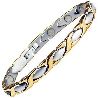 MPS® Special Offer Mesdames Bracelet magnétique classique en acier inoxydable avec déployante + pochette cadeau gratuit.