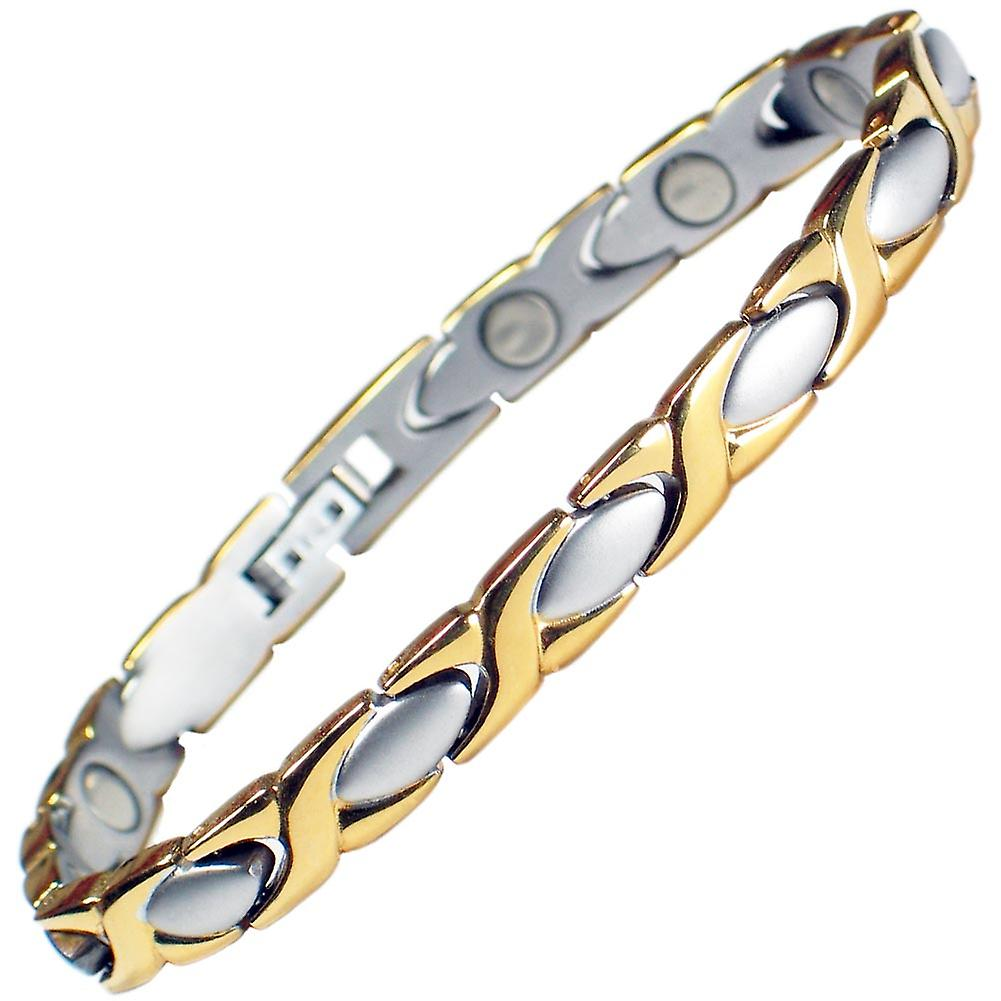 MPS® Special Offer Ladies Classic Stainless Steel Magnetic Bracelet with Fold-Over Clasp + Free Gift Wallet.