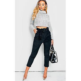 IKRUSH Womens Roxi Straight Leg Belted Cord Trousers
