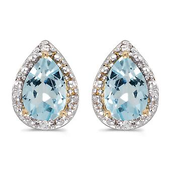 LXR 10k Yellow Gold Pear Aquamarine and Diamond Earrings 0.98ct