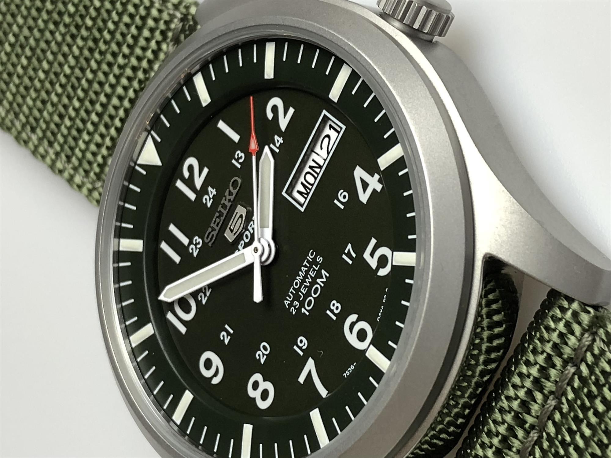 Seiko 5 Sports Automatic Khaki Green Military Style Men's Watch SNZG09K1