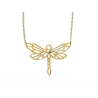 Gemshine necklace dragonfly with white breeding bead 925 silver or precious gold plated