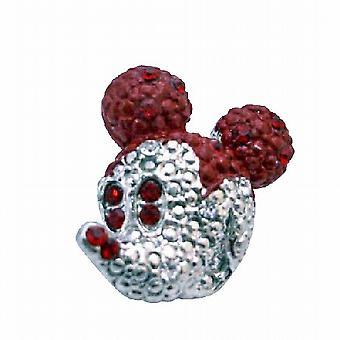 Søde Mickey Mouse Siam røde krystaller funklende Sølv Casting Broche