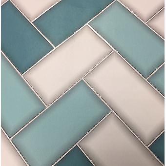 Chevron 3D azulejo fondos geométricos brillo chispa Teal gris decoración de Holden