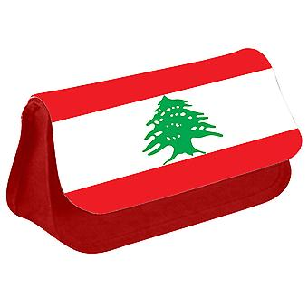 Lebanon Flag Printed Design Pencil Case for Stationary/Cosmetic - 0095 (Red) by i-Tronixs