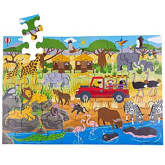 Bigjigs Toys Children's Wooden African Adventure Floor Jigsaw Puzzle (48 Piece)