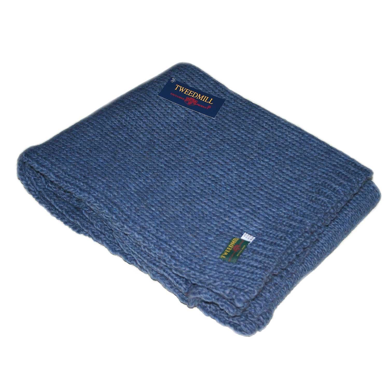 Blauer Schiefer Wurf gestrickt / Decke von Tweedmill
