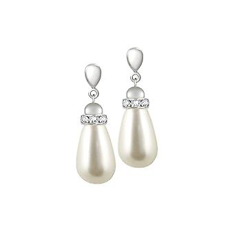 Eternal Collection Beaumont White Glass Pearl Silver Tone Drop Pierced Earrings