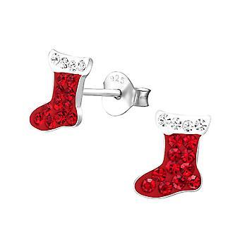 Crystal Christmas Stocking Sterling Silver Stud Earrings
