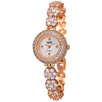 Burgi Women's Rose-Tone Crystal Bracelet Watch with Diamond Accents BUR139RG