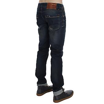 Blue wash cotton denim slim jeans