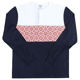 Crooks & Castles Pagoda Long Sleeve Henley T-shirt True Navy