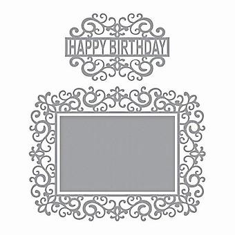 Spellbinders Shapeabilities Swirl Happy Birthday Frame Dies (S5-358)