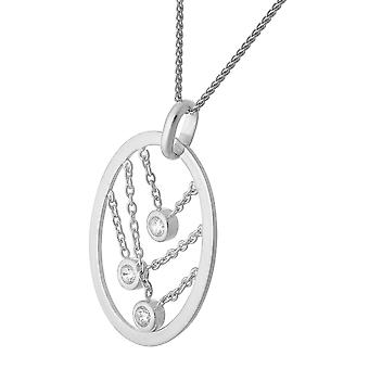 PENDANT WITH CHAIN OVAL STRINGS 925 SILVER AND ZIRCONIUM