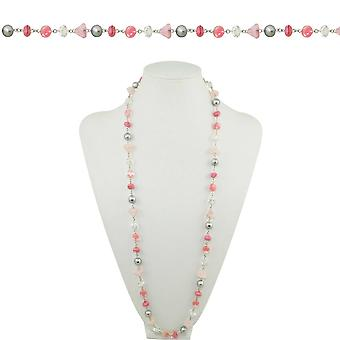 Eternal Collection Blush Pink Crystal And Silver Faux Pearl 36 Inch Silver Tone Beaded Necklace