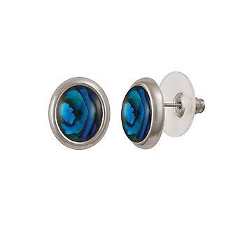 Evig samling Menuett blå Paua Shell Silver Tone Stud pierca øredobber
