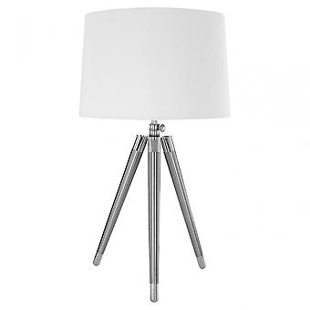 Premier Home Unique Tripod Table Lampe, Fer, Lin, Crème