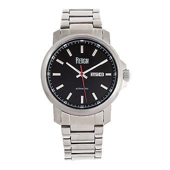 Reign Helios Automatic Bracelet Watch w/Day/Date - Silver/Black