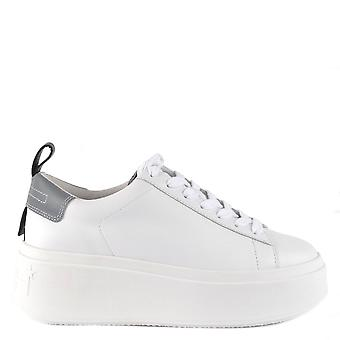 Ash MOON Platform Trainers White Leather & Grey